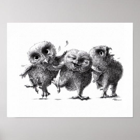 Three Crazy Owls - Corujas Pôster
