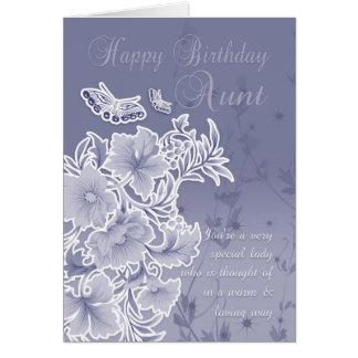 Tia, cartão de aniversário com flores e borboletas