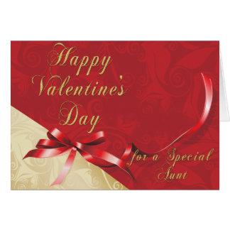 Tia especial Ouro e namorados filigranas vermelhos Cartão
