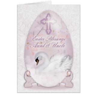 Tia & tio, cartão de páscoa com ovo decorado, cisn