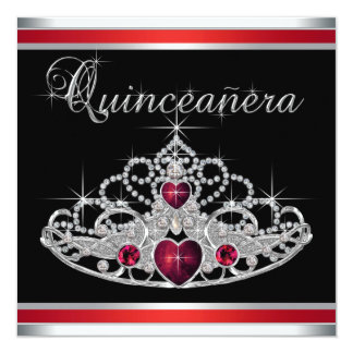 Tiara branca preta vermelha Quinceanera Convite Quadrado 13.35 X 13.35cm