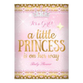 Tiara do laço da folha de ouro do rosa da princesa convite 11.30 x 15.87cm