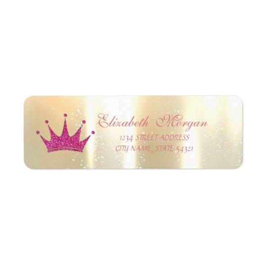 Tiara glamoroso, Glittery elegante, etiqueta de Etiqueta Endereço De Retorno