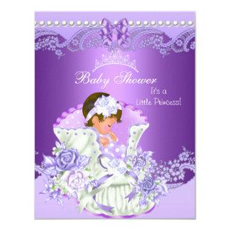 Tiara roxa Vint da menina pequena da princesa chá Convite 10.79 X 13.97cm