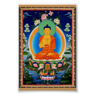 Tibetano Thangka Prabhutaratna Buddha Pôster