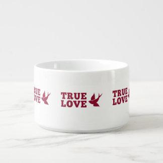 Tigela Amor verdadeiro vermelho e branco e pássaro