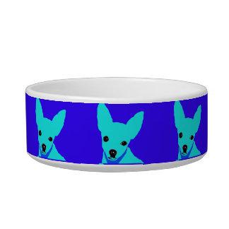 Tigela Bacia azul do animal de estimação da chihuahua