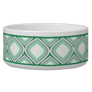 Tigela Bacia cerâmica verde do cão de Seafoam Ogee