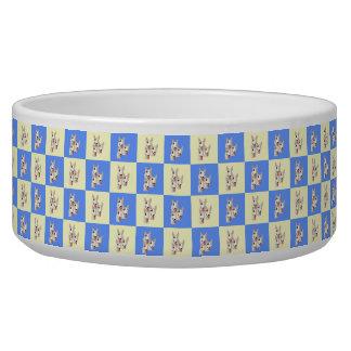 Tigela Bacia Checkered do cão de bull terrier