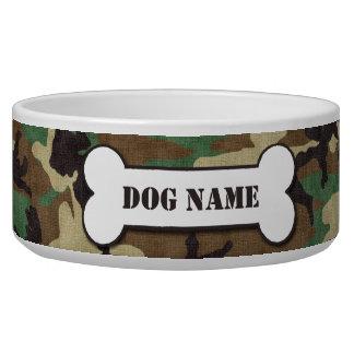 Tigela Bacia personalizada do cão da camuflagem da