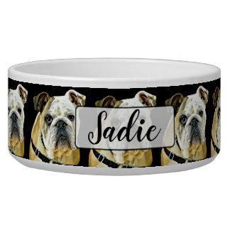 Tigela Bacia personalizada do cão preto do buldogue