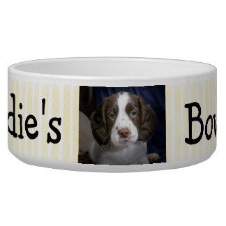 Tigela Bacia personalizada Tan do cão da foto e branco