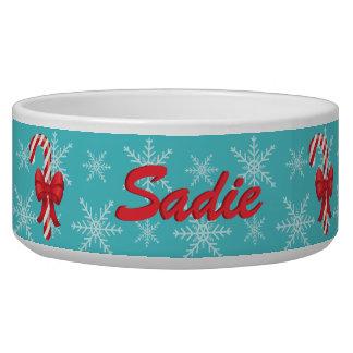 Tigela Bastões de doces festivos do Natal com nome feito