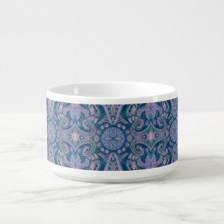 Tigela Curvas & Lotuses, floral abstrato, lavanda & azul
