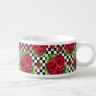 Tigela De Chili Checkered Rockabilly do amor floral do buquê das