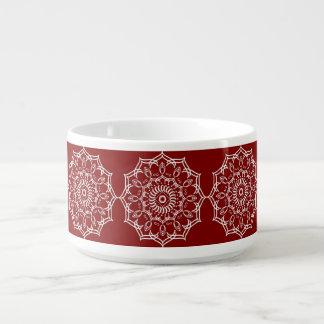 Tigela De Chili Flor branca bonita da mandala no vermelho