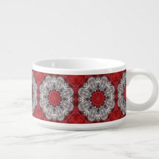 Tigela De Chili Flor cinzenta com vermelho no vermelho Textured