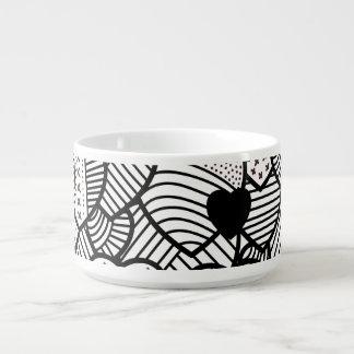 Tigela De Chili Padrões brancos pretos bonitos dos corações