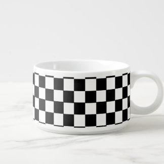 Tigela De Chili Teste padrão Checkered retro clássico preto e