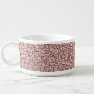 Tigela De Chili Teste padrão de ondas abstrato cor-de-rosa.