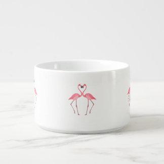 Tigela De Sopa Amor cor-de-rosa bonito dos flamingos