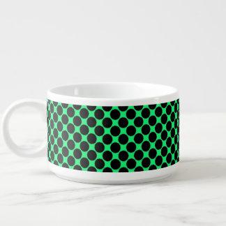 Tigela De Sopa Bolinhas pretas no verde do quivi