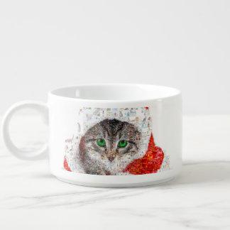 Tigela De Sopa gato de Papai Noel - colagem do gato - gatinho -