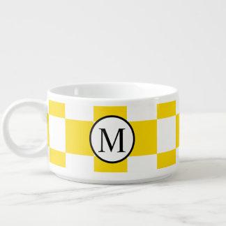 Tigela De Sopa Monograma simples com tabuleiro de damas amarelo