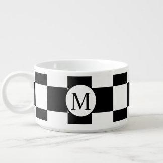 Tigela De Sopa Monograma simples com tabuleiro de damas preto