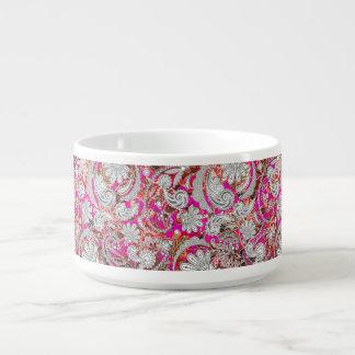 Tigela De Sopa Padrões cor-de-rosa brancos bonitos de paisley