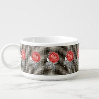 Tigela De Sopa Rosas do vintage e teste padrão cor-de-rosa do