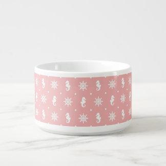 Tigela De Sopa Teste padrão coral cor-de-rosa náutico