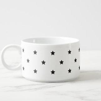 Tigela De Sopa Teste padrão de estrelas preto e branco