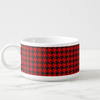 Tigela De Sopa Teste padrão vermelho e preto de Houndstooth