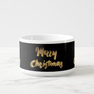 Tigela De Sopa Tipografia preta da escrita do ouro do Feliz Natal