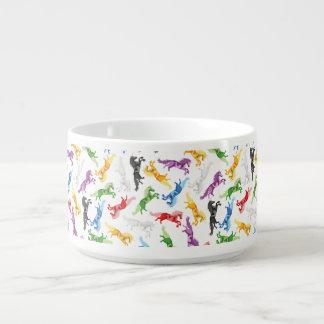 Tigela De Sopa Unicórnio colorido do teste padrão