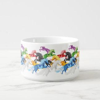 Tigela De Sopa Unicórnios selvagens coloridos da ilustração