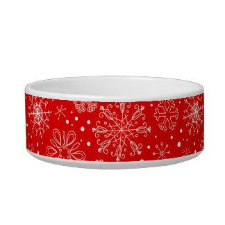 Tigela Flocos de neve brancos no vermelho do Natal