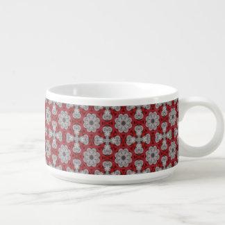 Tigela Flores e cruzes cinzentas no vermelho Textured