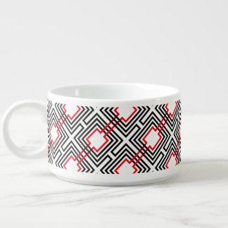 Tigela Geométrico vermelho & branco preto