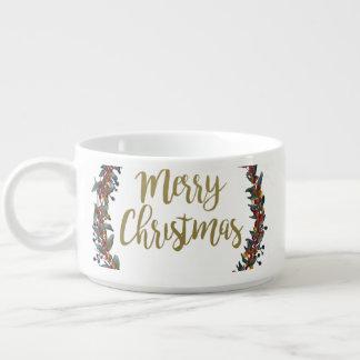 Tigela Grinalda da aguarela - Feliz Natal - ramos