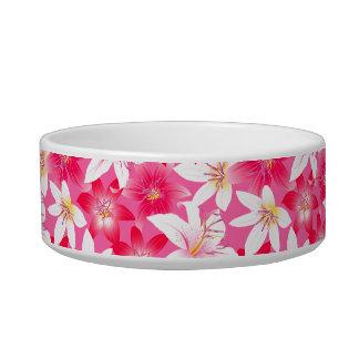 Tigela Hibiscus branco e cor-de-rosa floral