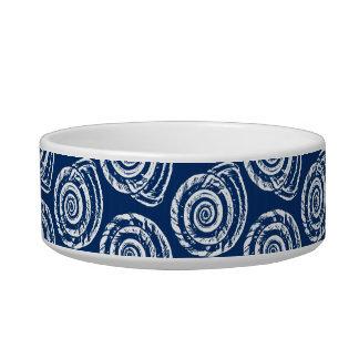 Tigela Impressão, azuis cobaltos e branco espirais de