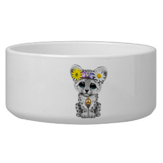 Tigela Leopardo de neve bonito Cub do Hippie