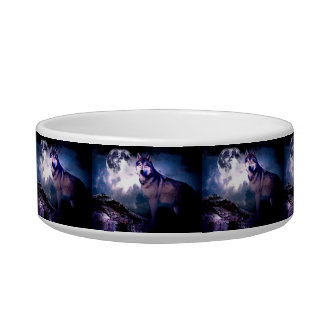 Tigela Lobo da lua - lobo cinzento - lobo selvagem - lobo