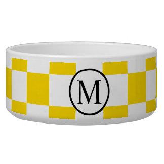 Tigela Monograma simples com tabuleiro de damas amarelo
