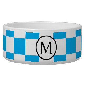 Tigela Monograma simples com tabuleiro de damas azul