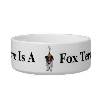 Tigela O amor é um Fox Terrier, animal de estimação
