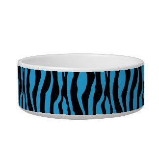 Tigela O impressão azul chique da zebra peroliza o prato