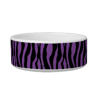 Tigela O impressão roxo chique da zebra peroliza o prato